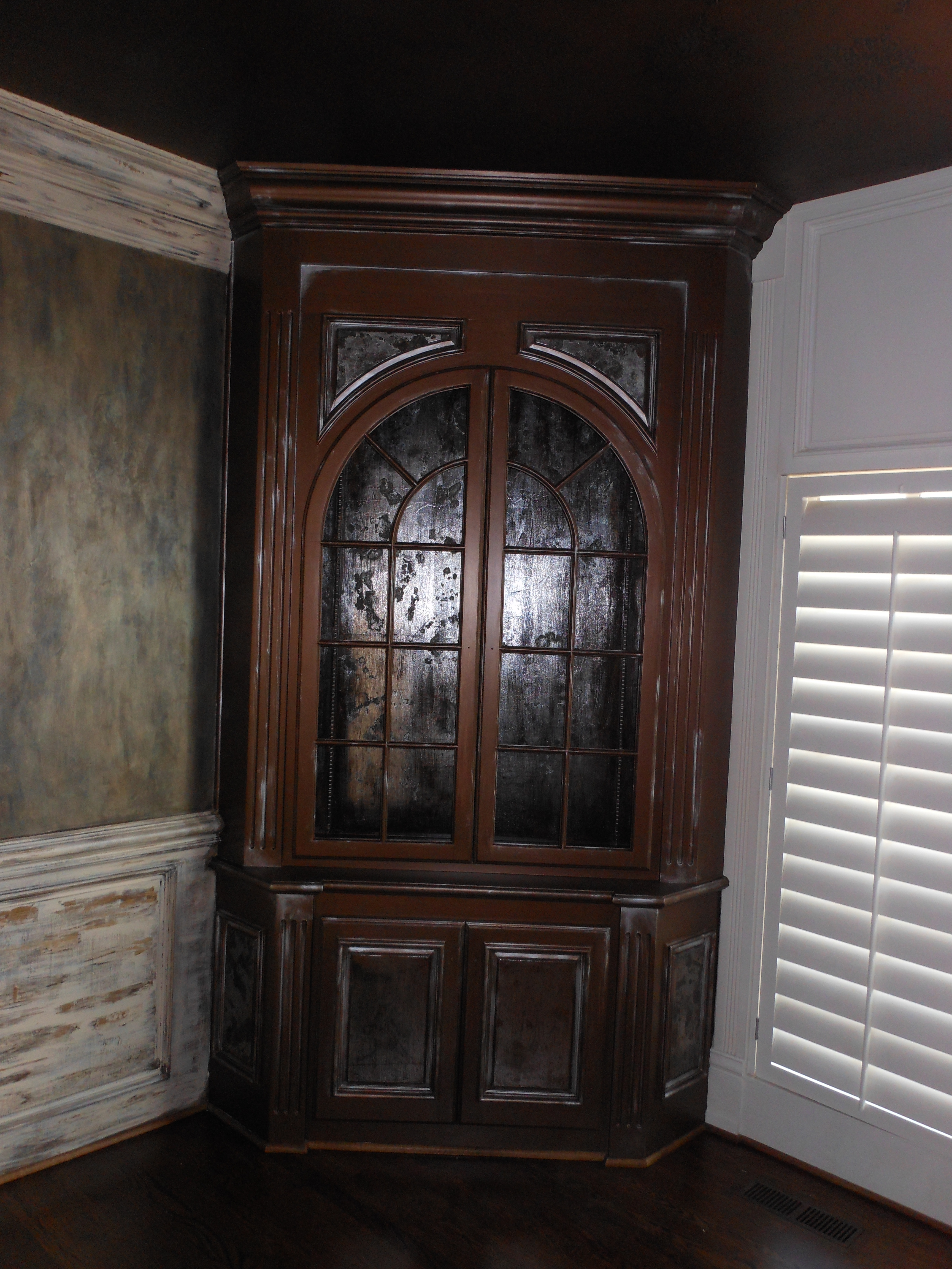 antiqued mirror china cabinet