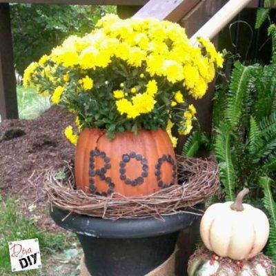 How to Make a Boo Pumpkin Planter from a Foam Pumpkin