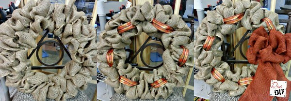 Not sure how to make a burlap wreath? Follow this burlap wreath tutorial and add your personal accents. Change it up for holiday decorating! Easy DIY Ideas!