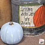 This Chalk Mix Painted Distressed Pumpkin is super simple and using Chalk Mix to make the chalk style paint makes it affordable as well! Great fall Decor
