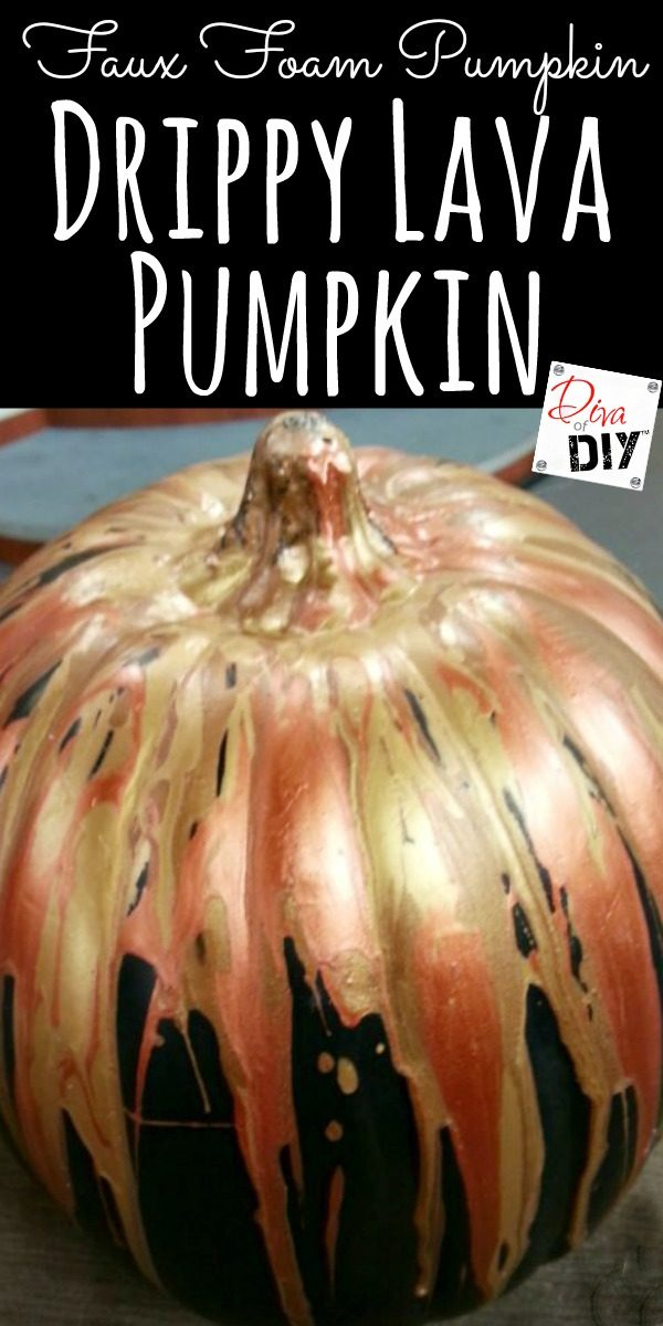 How to turn you Black Foam Pumpkin into an exploding metallic lava pumpkin! It is a great kids Halloween craft for Halloween party decorations.