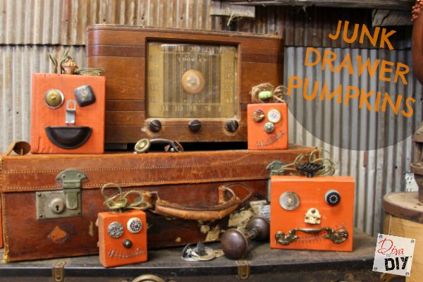 DIY Halloween Decorations made out of recycled materials. It's like Mr. Potato Head for pumpkins. Great for Vintage Halloween decorating! Junk-O-Lanters!