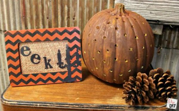 Do you love the look of chevron decor but only in small doses? This dollar store decoration adds the perfect amount of scary to your Halloween decorations!