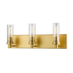 This gold-tone light fixture will make a statement in your updated bathroom