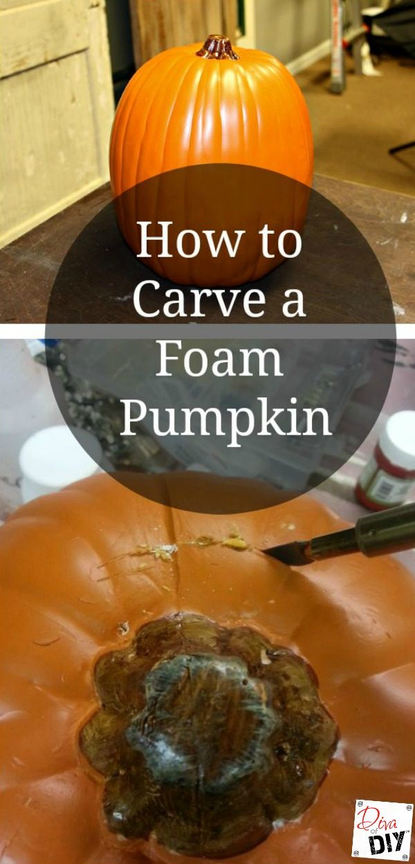 How to carve a foam pumpkin like a pro. It is super easy with a wood burning tool. Make easy Halloween decorations and Thanksgiving decor with pumpkins!
