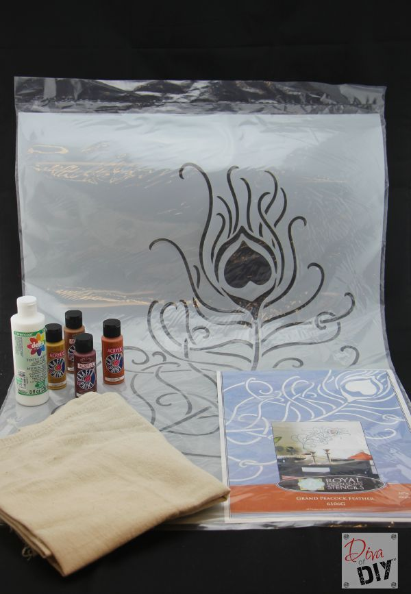 Make your own homemade tablecloth using acrylic paint, a stencil and a painter's drop cloth. Great Thanksgiving decoration or any Holiday celebration!