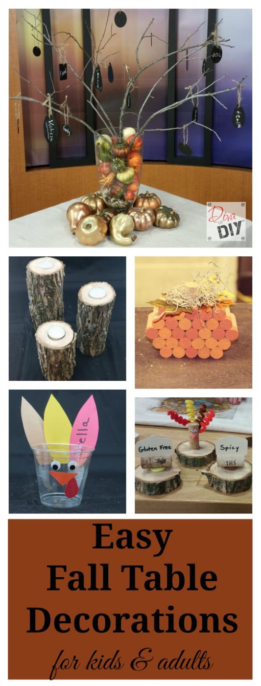 Great ideas for easy, inexpensive DIY Fall Table Decorations. Personalize your Thanksgiving with these fall decorations that your family can do together.