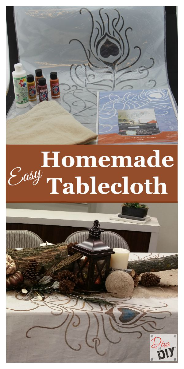 Make your own tablecloth using acrylic paint and a painter's drop cloth. Perfect for any occasion