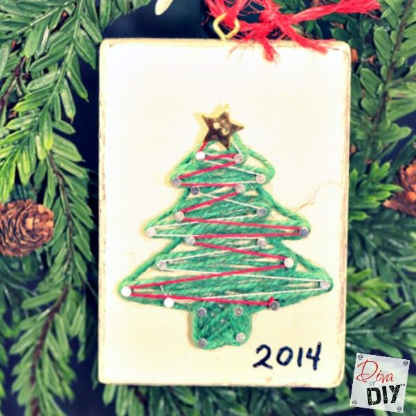 These are easy DIY homemade ornaments for kids! Handmade Christmas String Art Ornaments are the perfect way to personalize your Christmas decorations!