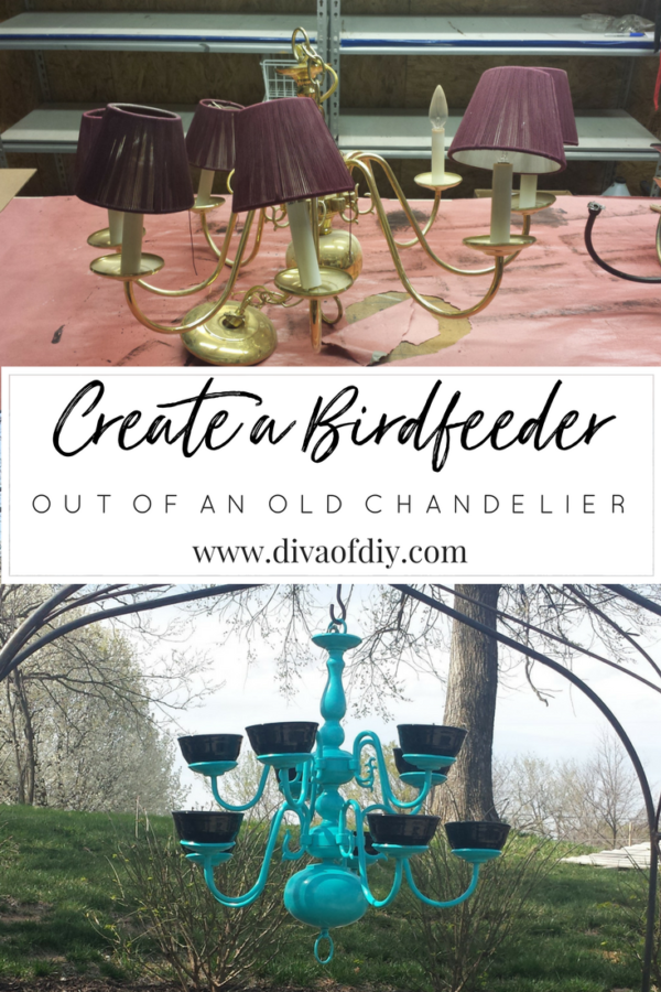 create a DIY bird feeder out of an old chandelier