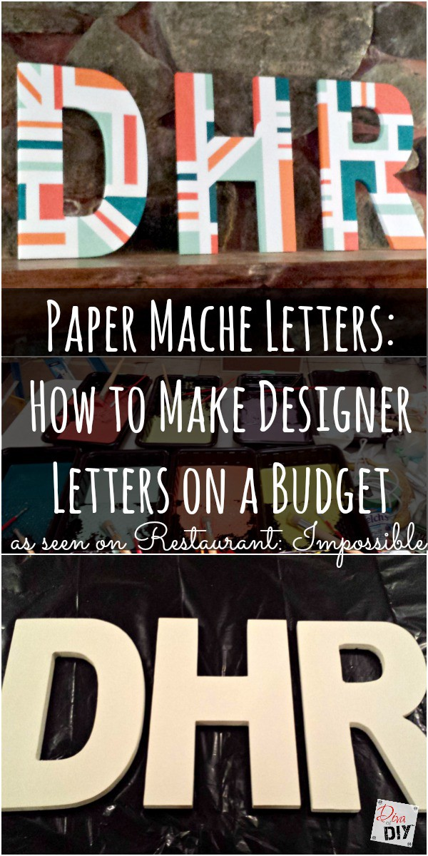 Make a strong geometric statement with these DIY designer paper mache letters using painters tape and paint. Easily adjust to your own style and decor.