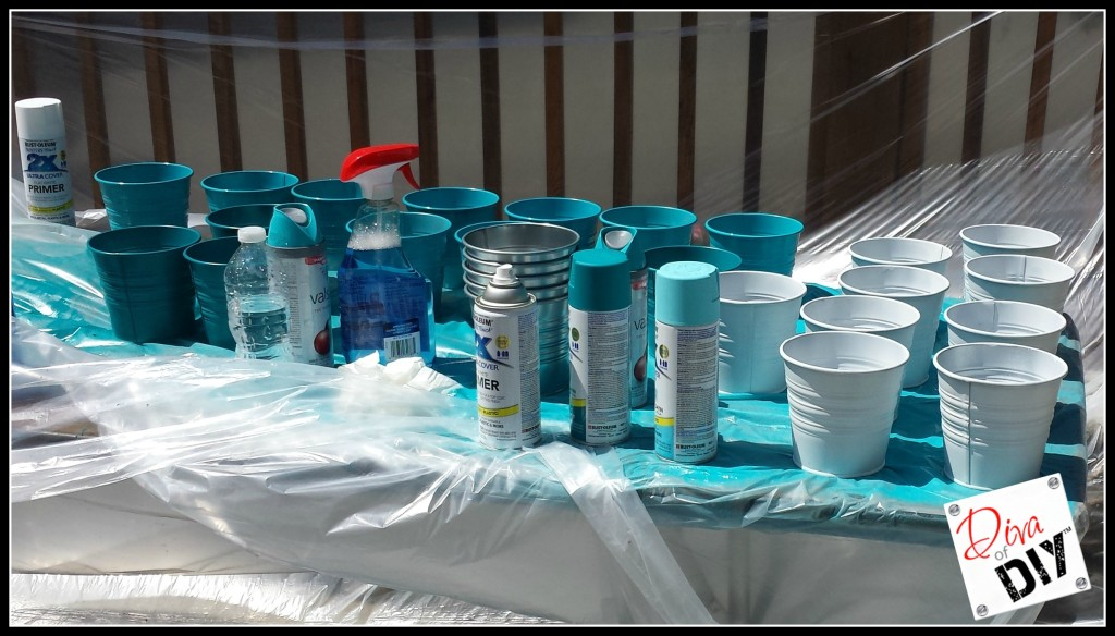 Dividing the Ikea Buckets into 3 groups-Create Your Own Ikea Ombre Buckets