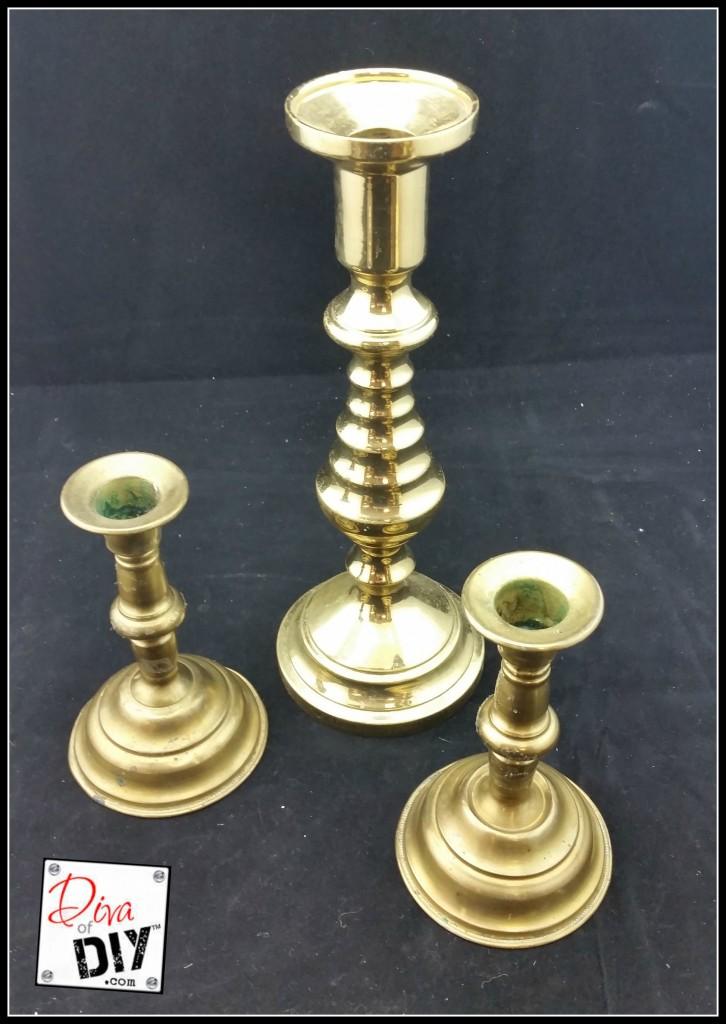 Thrift store finds brass candlesticks