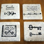 stamped tile for coasters