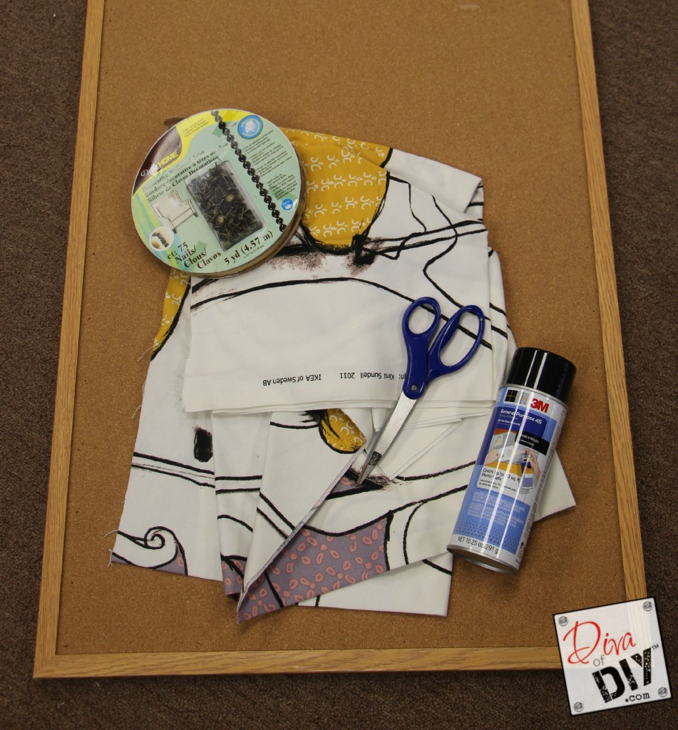 Upcycle a corkboard supplies