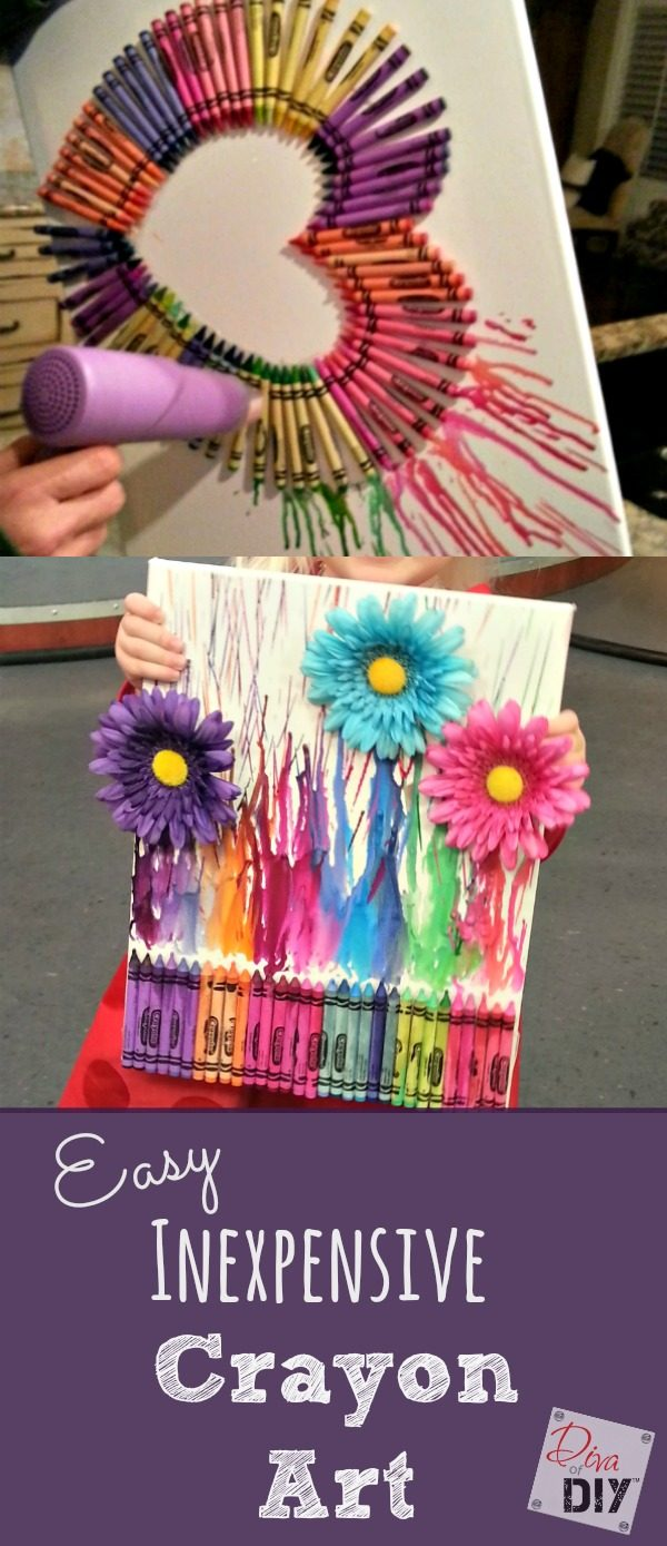 Looking for a great gift idea or something to keep the kids busy for an afternoon? This crayon art is a fun, DIY project you can do with your kids. It's easy and inexpensive and can be completed in a couple of hours.