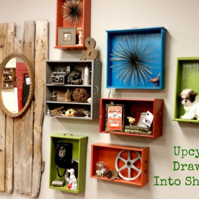 Upcycle Drawers Into Shelving