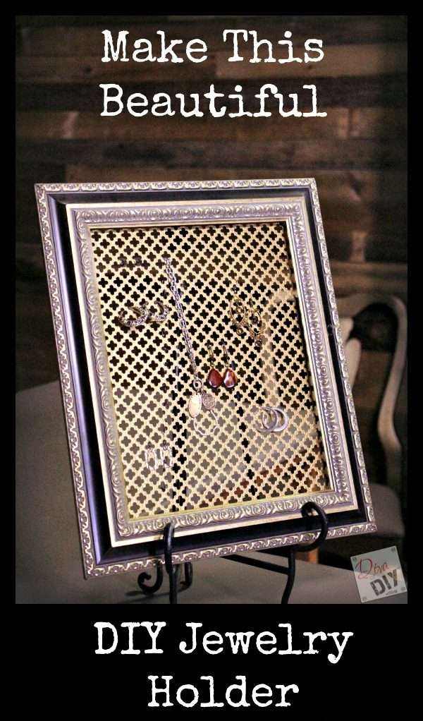 Make a quick and easy DIY Jewelry Organizer from an old frame! This Frame Jewelry Organizer idea is a stylish and unique way to display your jewelry!