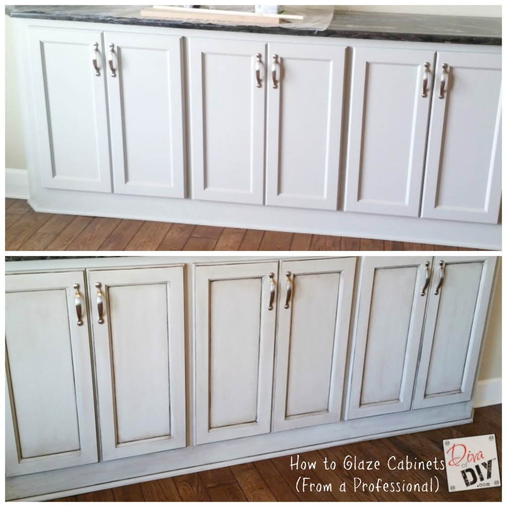 How to Glaze Cabinets Before and After