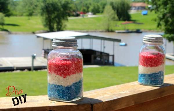 A DIY Mason Jar Votive that can be customized for any season, party, holiday or wedding! Perfect for Memorial Day and July 4th celebrations!