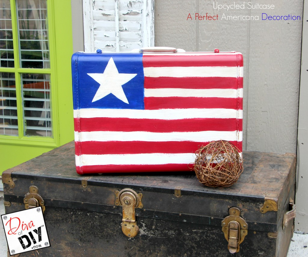 This is a great vintage suitcase DIY idea! Repurpose it into a one of a kind 4th of July Party decoration. It's makes a perfect Memorial Day decoration too!