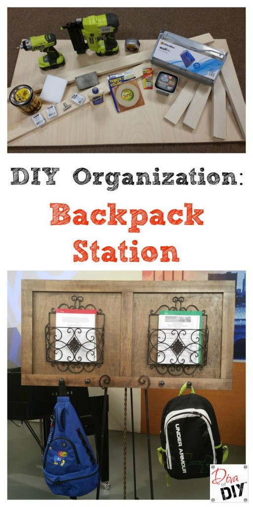 Easy DIY organizing backpack station
