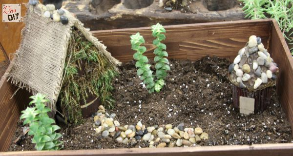 How to make a Fairy Garden DIY House complete with simple accessories you can make to create your own miniature diy village. Cheap ideas for Kids craft!