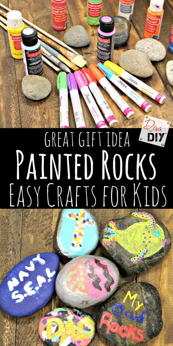 Looking for cheap and easy crafts for kids? This one is perfect and you probably already have everything you need to make these fun painted rocks! Great Gifts ideas for kids!