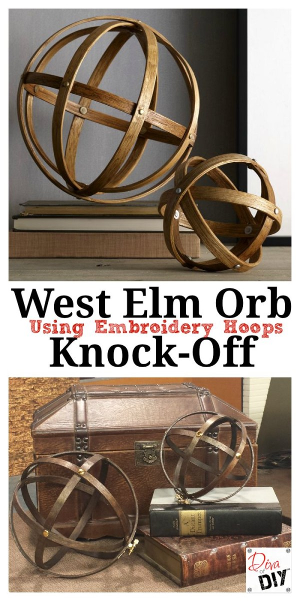 What is the best way to use wooden embroidery hoops without a needle? Make these awesome affordable decorative orbs! West Elm style home decor on a budget!