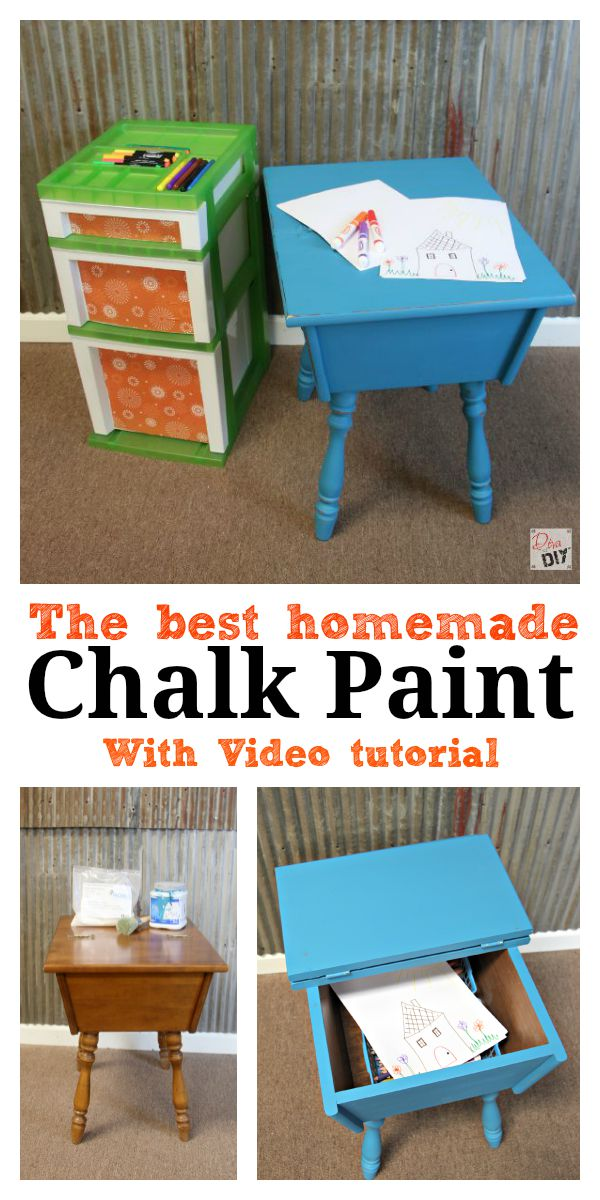 Learn to make your own homemade chalk paint in any color at a fraction of the cost of name brand chalk-based paints.