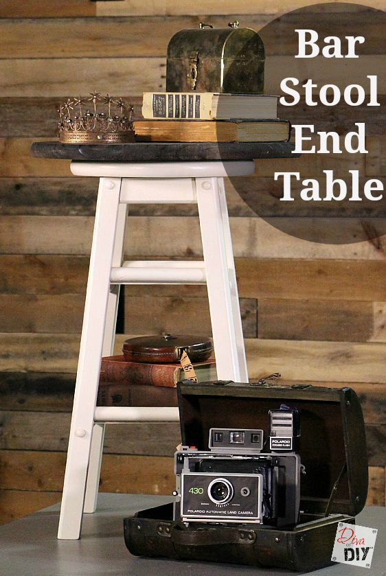 Create a stylish end table or night stand using a $1.00 garage sale bar stool