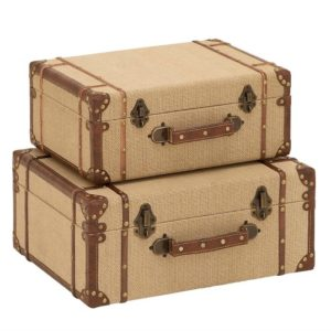 These burlap suitcases will add hidden storage to your platform bed
