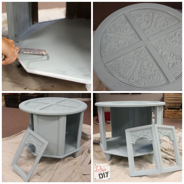 Create a furniture pet bed DIY! Yep, pet beds made out of furniture end tables! This homemade pet bed can be painted to match your home decor for any room!