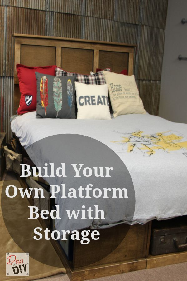 Learn how to make your own platform bed with storage. Free cut list ...