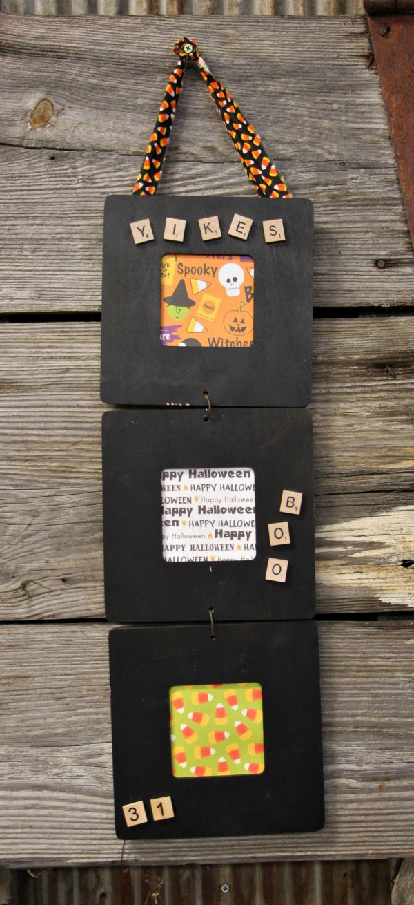 DIY Halloween Decor doesn't have to be expensive. This triptych frame is made from a wooden frame. Dollar store Halloween craft for kids and adults!