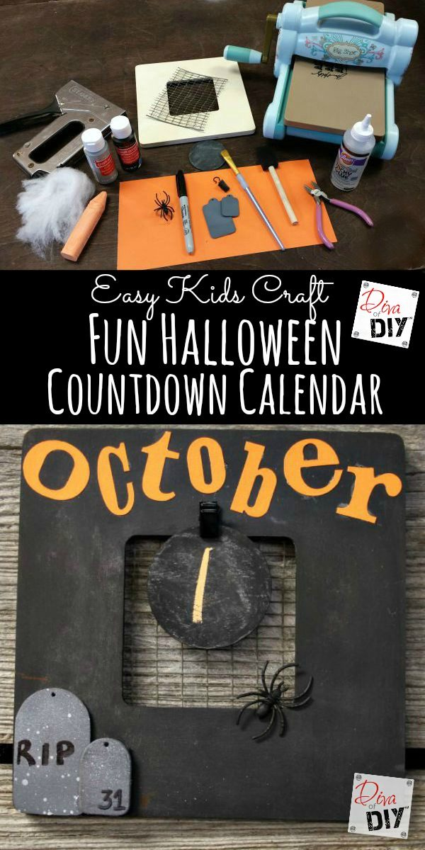 Easy Halloween decorations for kids to make! Create Halloween countdown calendar using a $1.00 frame and chalkboard paint. The perfect DIY Halloween Decoration!