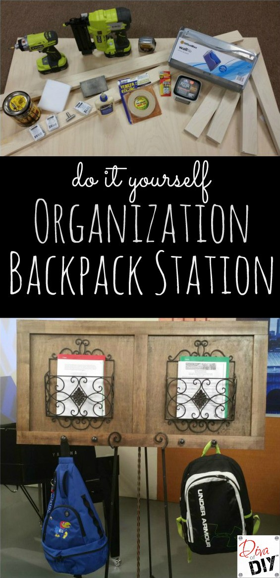 This organization DIY backpack station is perfect for school organization! Organizing Idea that's attractive and functional with easy step by step tutorial!