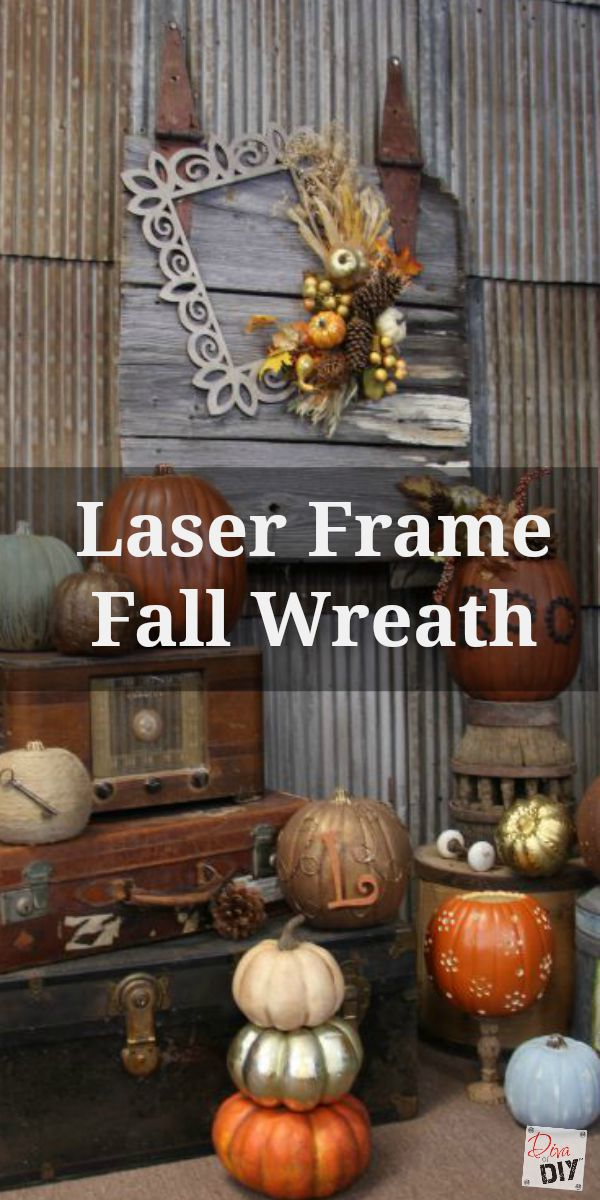 I love the asymmetrical lines of this DIY fall wreath for the front door. This square unique fall wreath is made with a laser frame. Mounted on a barn door!