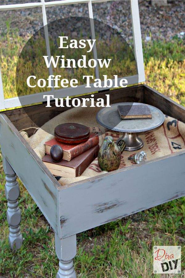 This old window coffee table diy is easy to make and is  functional and you can display treasures in the inside storage! Quick and Easy DIY Farmhouse Style!