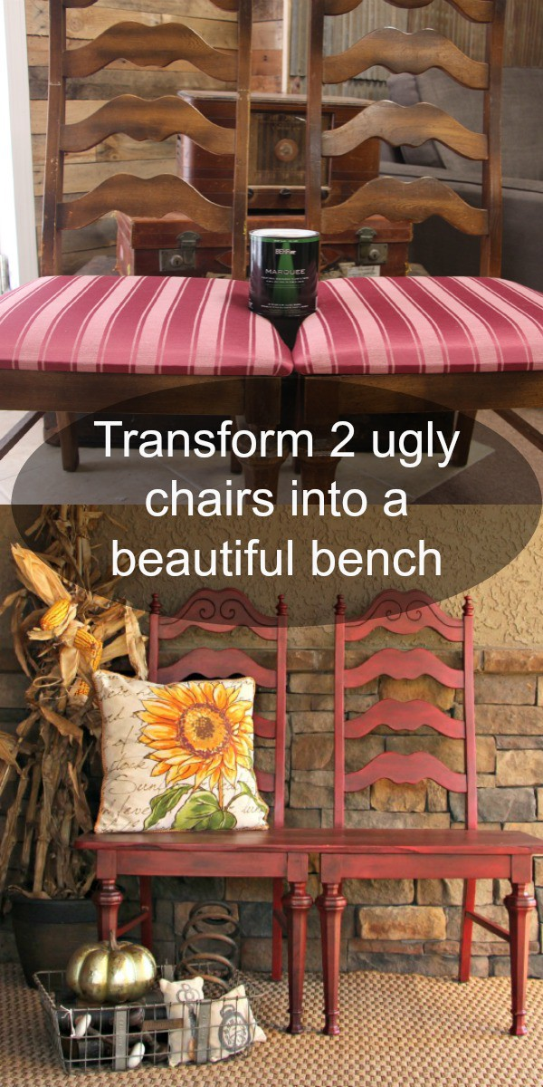 Transform 2 garage sale chairs into a beautiful chair bench This is perfect for indoor or outdoor decor! Repurpose old chairs into a DIY outdoor bench seat!