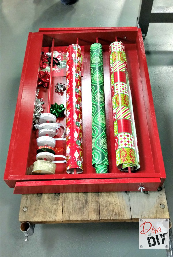 Wrapping presents shouldn't be frustrating.  Build this super easy gift wrap organizer to hold all of your Christmas wrapping supplies in one place.