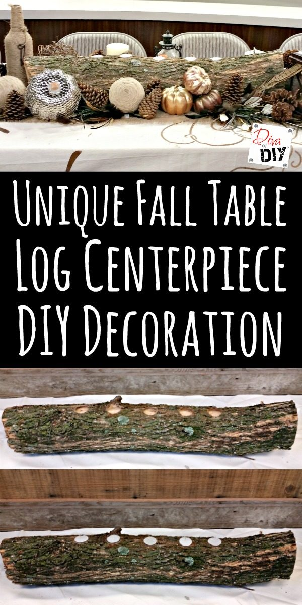 This log centerpiece is an easy, inexpensive DIY for your fall table decorations that you can complete in 30 minutes with items from your backyard!