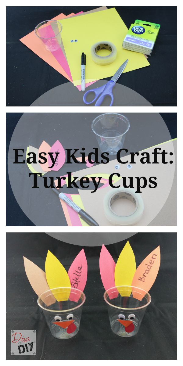 Keep drinks separated with these adorable personalized turkey cups for your Thanksgiving kids table decorations. Kids can make and decorate themselves!