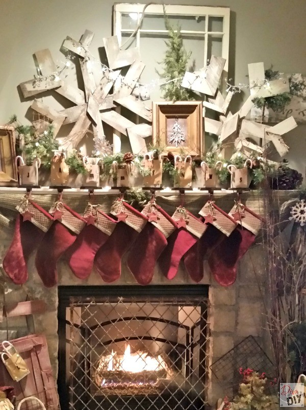 DIY Pallet Snowflake are the perfect addition to your rustic Christmas decorating! The are amazing Rustic fireplace mantle decorations that last all winter!