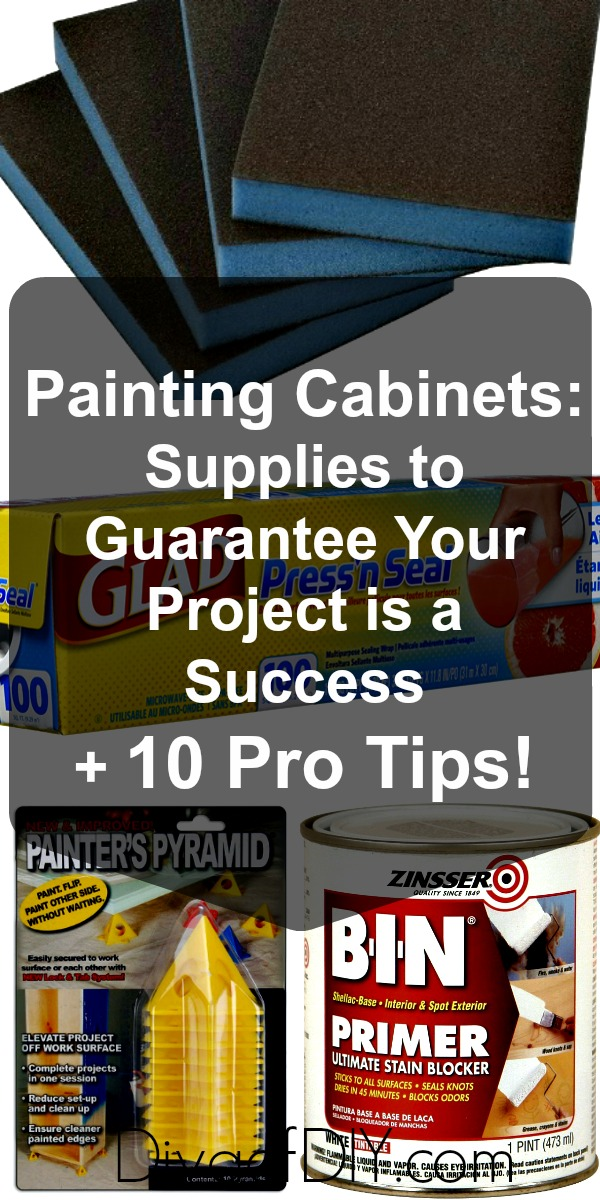 Learn my tips for painting cabinets from 15 years of experience! Paint cabinets like a pro with this list of supplies for your DIY cabinet painting project.