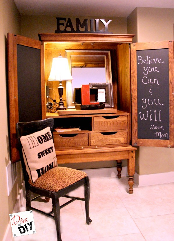 How To Put A Useful Memo Chalkboard On A Cabinet Door Diva Of Diy