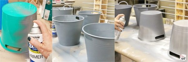 How do you make this topsy turvy flower pot for a fraction of the cost? Check out this Faux galvanized bucket flower pot made with dollar store supplies!