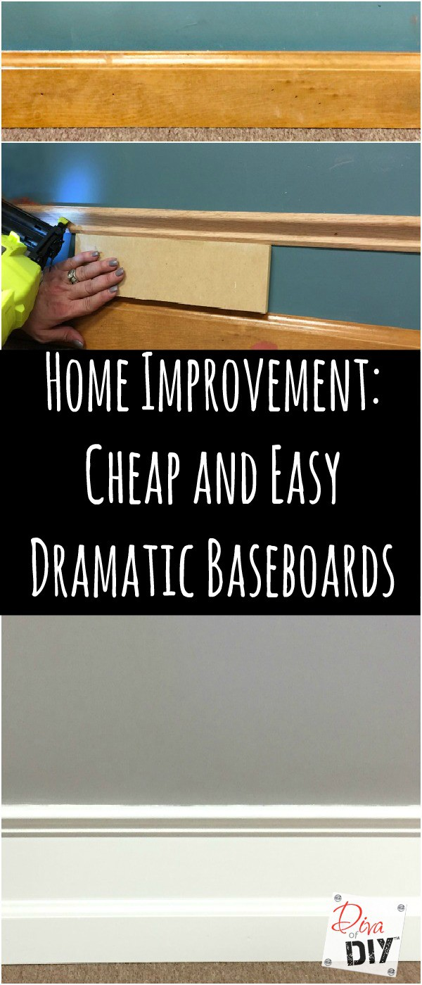 Cheap and easy DIY to add drama to your builder grade baseboards and moldings by adding trim to your walls and painting the space between them.