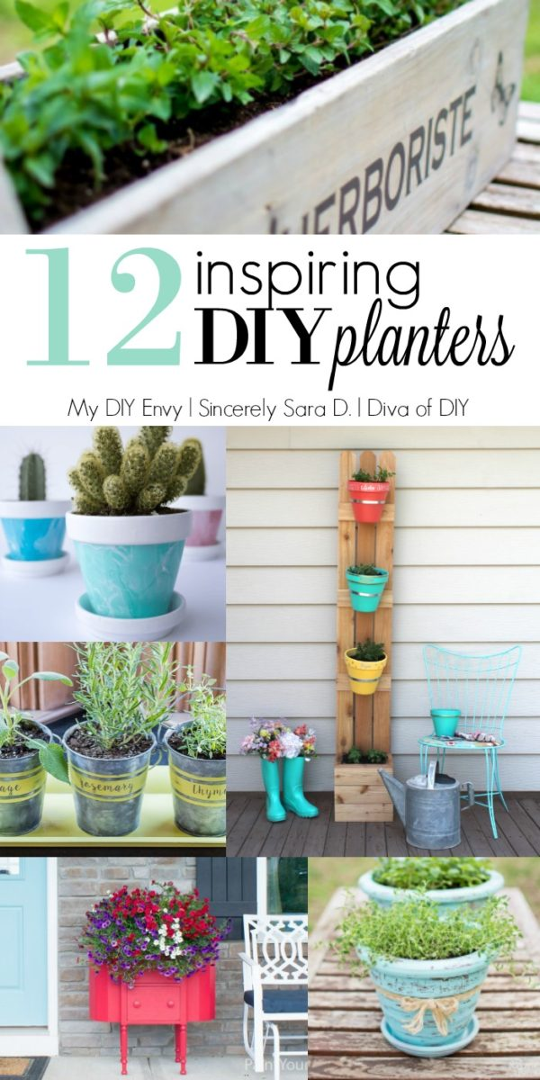 12 inspiring diy planters, great for outdoor curb appeal or your garden decor. Projects from Talk DIY to Me at Divaofdiy.com