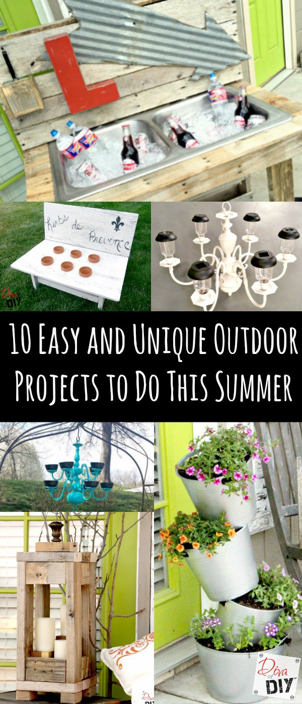 Try these 10 Cheap and Easy DIY Outdoor Projects for both your front curb side appeal and your backyard fun this summer! From Planters to Pallets!